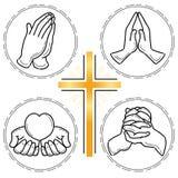 Prayer hand set - Christianity royalty free illustration