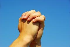 Prayer hands stock photos