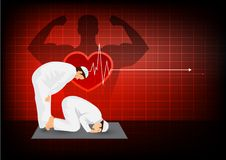Prayer for healthy with effect heart on red background Stock Images