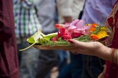 Prayer. Hindu woman offering prayer to god Royalty Free Stock Photos