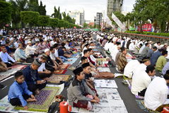 Prayer idul fitri in semarang Stock Photo