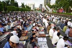 Prayer idul fitri in semarang. Thousands of worshipers attended Eid prayer at Pancasila Field, Simpanglima, Semarang City, Wednesday June 25, 2017. The prayer Royalty Free Stock Image