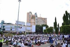 Prayer idul fitri in semarang. Thousands of worshipers attended Eid prayer at Pancasila Field, Simpanglima, Semarang City, Wednesday June 25, 2017. The prayer Royalty Free Stock Photo