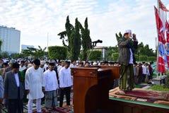 Prayer idul fitri in semarang. Thousands of worshipers attended Eid prayer at Pancasila Field, Simpanglima, Semarang City, Wednesday June 25, 2017. The prayer Royalty Free Stock Images