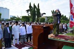 Prayer idul fitri in semarang. Thousands of worshipers attended Eid prayer at Pancasila Field, Simpanglima, Semarang City, Wednesday June 25, 2017. The prayer Royalty Free Stock Photos