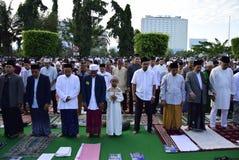 Prayer idul fitri in semarang. Thousands of worshipers attended Eid prayer at Pancasila Field, Simpanglima, Semarang City, Wednesday June 25, 2017. The prayer Royalty Free Stock Photography