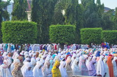 Prayer idul fitri in semarang Stock Images