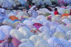 Prayer idul fitri in semarang. Thousands of worshipers attended Eid prayer at Pancasila Field, Simpanglima, Semarang City, Wednesday June 25, 2017. The prayer Stock Images