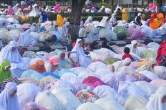 Prayer idul fitri in semarang. Thousands of worshipers attended Eid prayer at Pancasila Field, Simpanglima, Semarang City, Wednesday June 25, 2017. The prayer Stock Photo