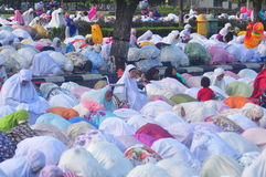 Prayer idul fitri in semarang. Thousands of worshipers attended Eid prayer at Pancasila Field, Simpanglima, Semarang City, Wednesday June 25, 2017. The prayer Stock Photography