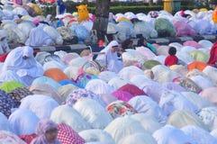 Prayer idul fitri in semarang. Thousands of worshipers attended Eid prayer at Pancasila Field, Simpanglima, Semarang City, Wednesday June 25, 2017. The prayer Stock Photos