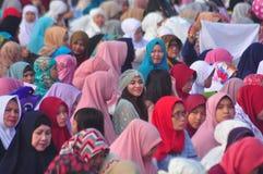Prayer idul fitri in semarang. Thousands of worshipers attended Eid prayer at Pancasila Field, Simpanglima, Semarang City, Wednesday June 25, 2017. The prayer Stock Image