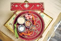 Prayer items for Indian wedding ceremony Puja, Pooja royalty free stock photos
