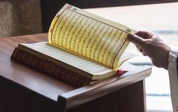 Prayer leader worship with Quran in a mosque, close up, indoor photography stock image
