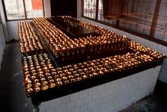 Prayer lights. All lamps of prayer room is lighten before prayer at Dro-dul Chorten stupa in Gangtok, Sikkim, Indian Royalty Free Stock Photos