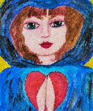 Prayer of love and hope. Naive folk art mosaic painting of a blue hooded girl in prayer Royalty Free Stock Photography