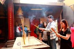 Prayer at A-Ma Temple - Macau Royalty Free Stock Image