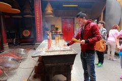 Prayer at A-Ma Temple - Macau Royalty Free Stock Photography