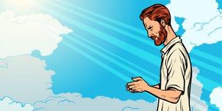 Prayer man, religion and faith. Islam Christianity spirituality. Pop art retro vector illustration vintage kitsch vector illustration