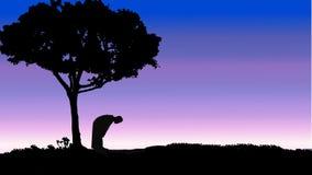Prayer man silhouette Stock Photography