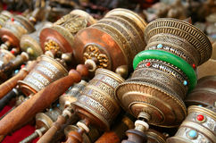 Prayer Mills. On sale in Lhasa Tibet royalty free stock image