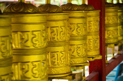 Prayer Mills in Tambun Tibetian Buddhist Temple, Perak Stock Photos