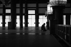 Prayer. The minister Shinto shrine for prayer, Japan royalty free stock photography