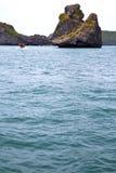 Prayer  monkey rock in thailand kho phangan  bay abstract boat Stock Image