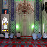 Prayer in the mosque stock photo