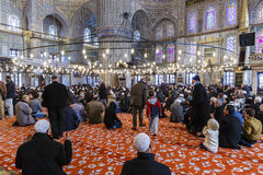 Prayer in the Mosque of Sultan Ahmed Royalty Free Stock Photos