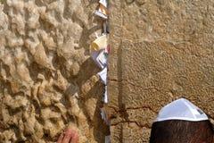 Prayer near Wailing Wall in Jerusalem. Royalty Free Stock Image