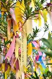 Prayer notes. A colourful prayer notes on the wishing tree in Buddhist Temple in Malaysia Royalty Free Stock Image