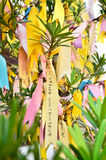 Prayer notes. A colourful prayer notes on the wishing tree in Buddhist Temple in Malaysia Stock Photos