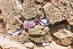 Prayer Notes at the Western Wall royalty free stock images