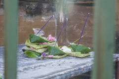 Prayer Offerings at Tirtha Empul Temple, Bali Royalty Free Stock Image