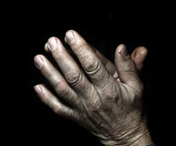 Prayer old man hands Stock Photo