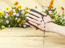 Prayer over old Holy Bible Royalty Free Stock Photo