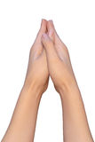 A prayer position of female hands Royalty Free Stock Photos