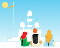 Prayer in punjab. An illustration of a gurdwara in the punjab with pilgrims praying in traditional dress under a hot blue sky Stock Photography