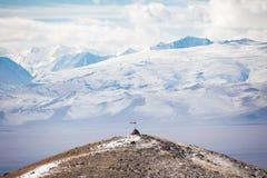 Prayer pyramid in the mountains Stock Photos