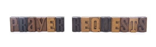 PRAYER REQUEST spelled in wooden block letters. Perfect for church bulletins Royalty Free Stock Photo