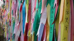 Prayer ribbons. Attached to a barbed wire fence near the border between North and South Korea, I m told they have messages of hope, dreams and wishes for Royalty Free Stock Photo