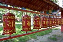 Prayer ritual wheels in Datsan of Gunzechoyney. St. Petersburg Royalty Free Stock Photos