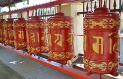 Prayer ritual wheels in Datsan of Gunzechoyney. St. Petersburg Royalty Free Stock Photography