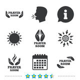 Prayer room icons. Religion priest symbols. Stock Photography