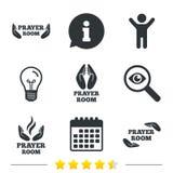 Prayer room icons. Religion priest symbols. Stock Images