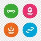 Prayer room icons. Religion priest symbols. Stock Photos