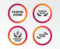 Prayer room icons. Religion priest symbols. Prayer room icons. Religion priest faith symbols. Pray with hands. Infographic design buttons. Circle templates Stock Photography