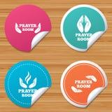 Prayer room icons. Religion priest symbols. Royalty Free Stock Photography