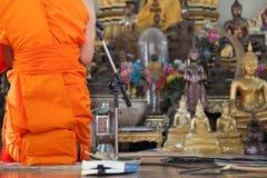 Prayer room. Monk Evening Chant in Prayer room Royalty Free Stock Photos